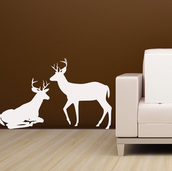 Deer Wall decals for the man cave  Vinyl Wall Art stickers Whitetail hunting decor