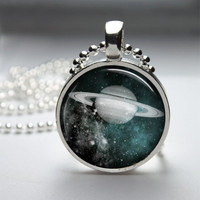 Round Glass Bezel Photo Art Pendant Planet Pendant Planet Necklace With Silver Ball Chain (A3648)