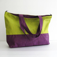 Water-Resistant Nylon Tote in Apple Green and Deep Plum - HappyTote