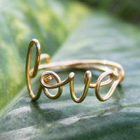 Gold Wire Love Ring - Adjustable Fit Most Size - Dainty Ring, Conversation Ring Mothers Day Gift Fabulous Wire