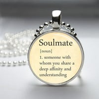 Round Glass Bezel Pendant Soulmate Pendant Dictionary Definition Necklace Photo Pendant Art Pendant With Silver Ball Chain (A3601)