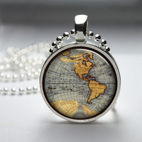 Round Glass Bezel Pendant Map Pendant Map Necklace Photo Pendant Art Pendant With Silver Ball Chain (A3337)