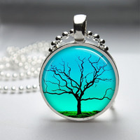 Round Glass Bezel Pendant Tree Pendant Tree Necklace Photo Pendant Art Pendant With Silver Ball Chain (A3548)