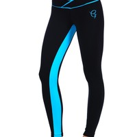 Equilibrium Active Wear Blue Stripe Legging