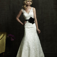 2011 Allure Bridal - Fitted Lace Gown With Scalloped Neckline And Matching Taffeta Sash- 2 to 32 - Unique Vintage - Bridesmaid &amp; Wedding Dresses
