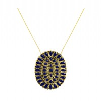 House of Harlow 1960 Jewelry Howl Pendant Necklace - Navy