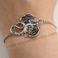 antique silver dragon bracelet