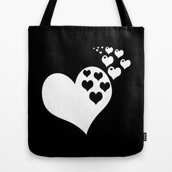 Black & White Hearts of Love Tote Bag by BeautifulHomes