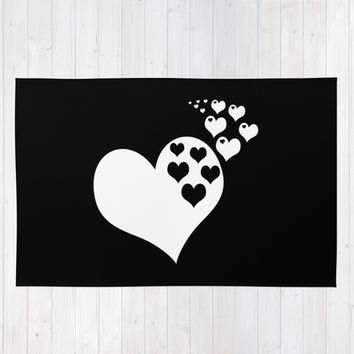 Black & White Hearts of Love Area & Throw Rug by BeautifulHomes
