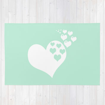 Mint White Hearts of Love Area & Throw Rug by BeautifulHomes
