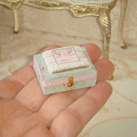 Dollhouse Miniature wood box and lace bundle composition. 1:12 dollhouse miniature sewing.