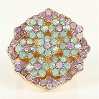 Two Tone Rhinestone Flower Ring