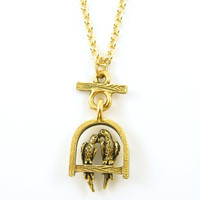 Love Bird Necklace - Birds on Perch in Antique Gold on 18 Inch Gold Chain