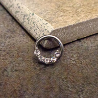Rhinestones Septum Ring, Cartilage Ring, Tragus Ring, Nipple Ring, Captive Bead Surgical Steel Piercing Jewelry 16G, 14G