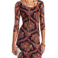 SCARF PRINT BODYCON LACE DRESS