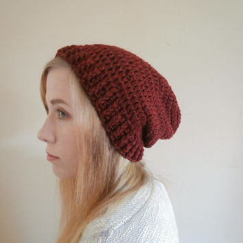Dark Red Slouchy Beanie womens, teens, mens beanie, hipster, boho, chic, rustic, READY TO SHIP