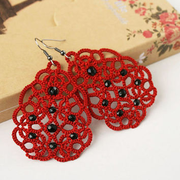 Red lace earrings Terpsichore, red earrings, tatted earrings, dangle earrings, long earrings, statement earrings, tatting lace jewelry.