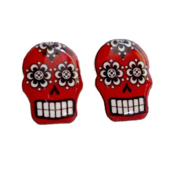 "Women's ""Sugar Skull Tattoo"" Earrings by Juicy Lucy (Red)"