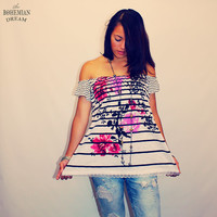 Bohemian Top Off Shoulder Tube Shirt Striped Oriental Print White Lace Boho Hippie Upcycled Recycled Clothing OOAK by TheBohemianDream