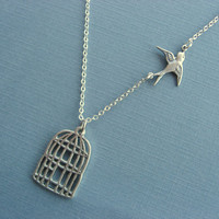 Be Free Sparrow Necklace, silver bird cage necklace
