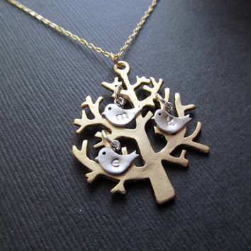 FAMILY Tree  Necklace, 3 SILVER BIRDS Tree of Life Branch Initials