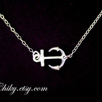 Silver anchor necklace, anchor charm necklace, STERLING SILVER - sailors anchor, simple everyday necklace, anchor jewelry