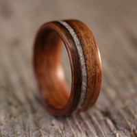 Santos Rosewood Bentwood Ring with Offset Mother of Pearl Inlay - Handcrafted Wooden Ring