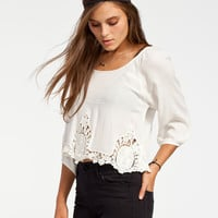 Full Tilt Crochet Inset Womens Top Cream  In Sizes