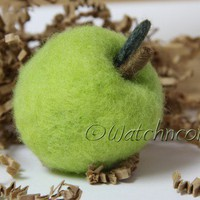 Needle Felted Wool Granny Smith Green Apple Felted Fruit