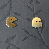 Brass Pac-Man earring set