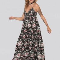 Autumn Blossom Maxi Dress