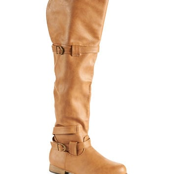 Aeropostale Buckled Tall Riding Boot - Cognac,