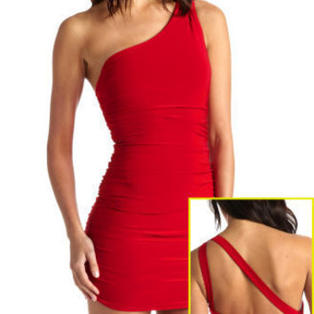 Cutout-Shoulder Ruched Dress