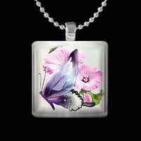 Floral Butterfly Glass Pendant
