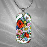 Floral Bouquet Glass Pendant