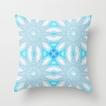 Turquoise & Aqua Frozen Sunburst Flowers Throw Pillow by 2sweet4words Designs | Society6