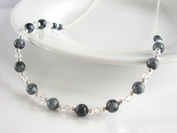 Snowflake Obsidian Necklace in Sterling Silver with Clear Swarovski Crystal