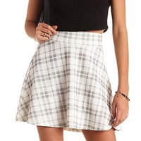 GLITTER PLAID TEXTURED SKATER SKIRT