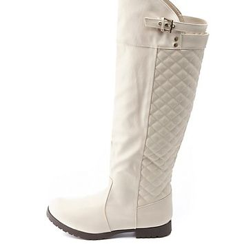 Quilted Knee-High Riding Boots by Charlotte Russe - Beige