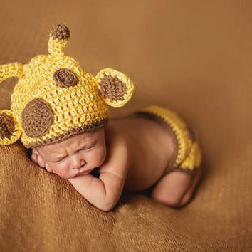 Handmade Giraffe Infant Photo Prop Outfit