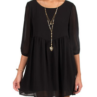 3/4 Sleeve Babydoll Dress - Black - Black /
