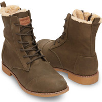 OLIVE SYNTHETIC LEATHER WOMEN'S ALPA BOOTS