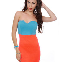 Sexy Strapless Dress - Neon Orange Dress - $35.50