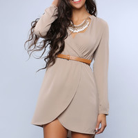China Collar Belted Dress