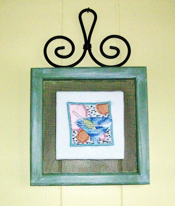 Hand embroidered Martini glass framed wall hanging