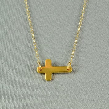 Sideways Cross Necklace, 24K Gold Vermeil, 14K Gold Filled Chain, Modern, Simple, Delicate, Everyday Wear Jewelry