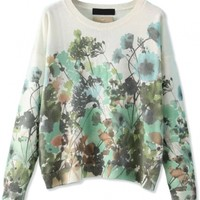 Sweet Floral Pattern Sweater - OASAP.com
