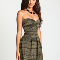 Metallic Bandage Flare Dress