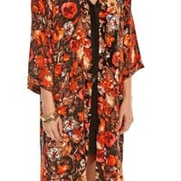 Sheridan Floral Long Line Kimono in Red
