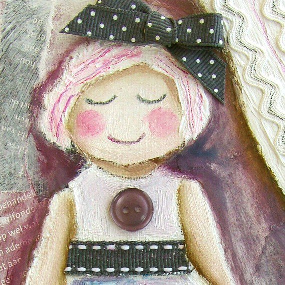 mixed media painting on canvas - Toy Doll  Bella